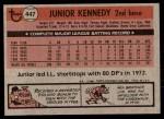 1981 Topps #447  Junior Kennedy  Back Thumbnail