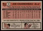 1981 Topps #13  Joe Charboneau  Back Thumbnail