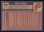 1984 Topps #43  Ron Reed  Back Thumbnail