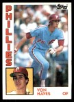1984 Topps #587  Von Hayes  Front Thumbnail