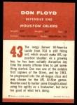 1963 Fleer #43  Don Floyd  Back Thumbnail