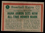 1975 Topps Mini #1  Hank Aaron  Back Thumbnail