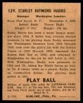 1940 Play Ball #129  Bucky Harris  Back Thumbnail
