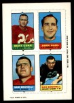 1969 Topps 4-in-1 Football Stamps  Bert Coan / John Hadl / Sam Brunelli / Dan Birdwell  Front Thumbnail
