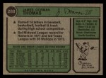 1974 Topps #288  Gorman Thomas  Back Thumbnail