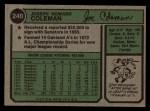 1974 Topps #240  Joe Coleman  Back Thumbnail