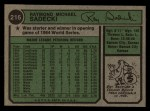 1974 Topps #216  Ray Sadecki  Back Thumbnail