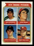1974 Topps #608 ERR  -  Dick Baney / John D'Acquisto / Mike Wallace / Bob Apodaca Rookie Pitchers   Front Thumbnail