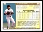 1999 Topps #164  John Valentin  Back Thumbnail