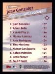 1999 Topps #226   -  Juan Gonzalez League Leaders Back Thumbnail