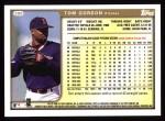 1999 Topps #390  Tom Gordon  Back Thumbnail
