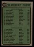 1974 Topps #207   -  Nolan Ryan / Tom Seaver Strikeout Leaders   Back Thumbnail