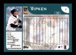 2001 Topps #1  Cal Ripken  Back Thumbnail