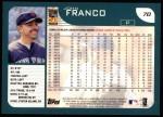 2001 Topps #70  John Franco  Back Thumbnail
