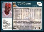 2001 Topps #294  Francisco Cordero  Back Thumbnail
