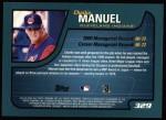 2001 Topps #329  Charlie Manuel  Back Thumbnail