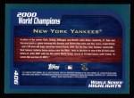 2001 Topps #406   New York Yankees Champs Back Thumbnail