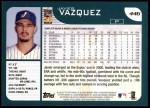 2001 Topps #446  Javier Vazquez  Back Thumbnail