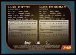 2001 Topps #742  Luis Cotto / Luis Escobar  Back Thumbnail