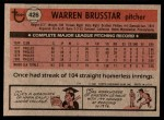 1981 Topps #426  Warren Brusstar  Back Thumbnail
