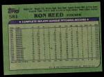 1982 Topps #581  Ron Reed  Back Thumbnail