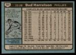 1980 Topps #566  Bud Harrelson  Back Thumbnail