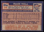 1984 Topps #28  Frank Viola  Back Thumbnail