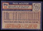 1984 Topps #60  Paul Molitor  Back Thumbnail