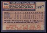 1984 Topps #220  Fernando Valenzuela  Back Thumbnail