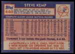 1984 Topps #440  Steve Kemp  Back Thumbnail