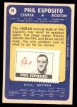 1969 Topps #30  Phil Esposito  Back Thumbnail