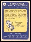 1969 Topps #106  Eddie Shack  Back Thumbnail