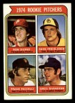 1974 Topps #599 LG  -  Dave Freisleben / Ron Diorio / Frank Riccelli / Greg Shanahan Rookie Pitchers   Front Thumbnail