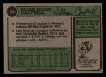 1974 Topps #26  Bill Campbell  Back Thumbnail