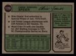 1974 Topps #129  Chris Speier  Back Thumbnail