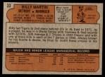 1972 Topps #33  Billy Martin  Back Thumbnail
