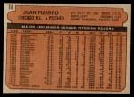 1972 Topps #18 YLW Juan Pizarro  Back Thumbnail