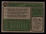 1974 Topps #292  Chuck Seelbach  Back Thumbnail