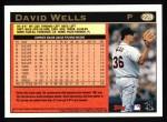 1997 Topps #228  David Wells  Back Thumbnail