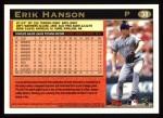 1997 Topps #38  Erik Hanson  Back Thumbnail