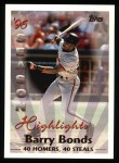 1997 Topps #465   -  Barry Bonds Season Highlights Front Thumbnail