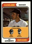 1974 Topps #521   -  Ken Aspromonte / Clay Bryant / Tony Pacheco  Indians Leaders   Front Thumbnail