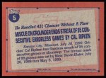 1991 Topps #5   -  Cal Ripken Record Breaker Back Thumbnail