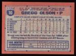 1991 Topps #10  Gregg Olson  Back Thumbnail