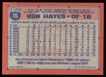 1991 Topps #15  Von Hayes  Back Thumbnail