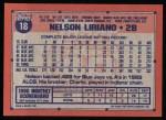 1991 Topps #18  Nelson Liriano  Back Thumbnail