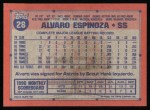 1991 Topps #28  Alvaro Espinoza  Back Thumbnail