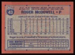 1991 Topps #43  Roger McDowell  Back Thumbnail