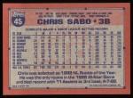 1991 Topps #45  Chris Sabo  Back Thumbnail