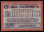 1991 Topps #91  Greg Colbrunn  Back Thumbnail